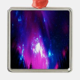 Amethyst Winter Sky Silver-Colored Square Ornament