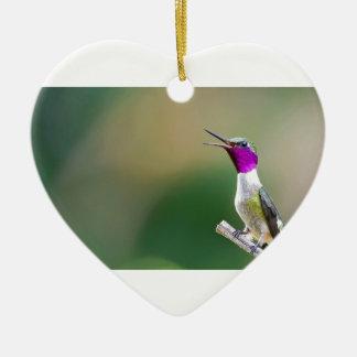 Amethyst Woodstar Hummingbird Ceramic Ornament