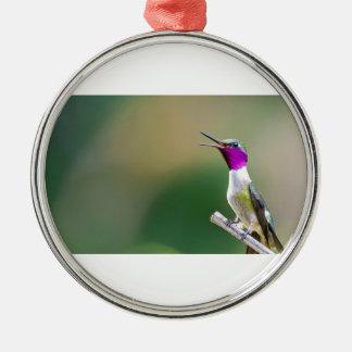Amethyst Woodstar Hummingbird Metal Ornament