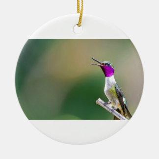Amethyst Woodstar Hummingbird Round Ceramic Ornament