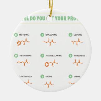 Amino Acids - Where do you get your protein? Ceramic Ornament
