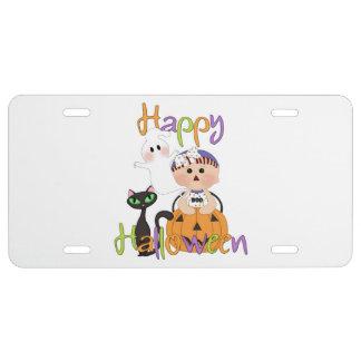 Amis heureux de partie de Halloween Plaque D'immatriculation
