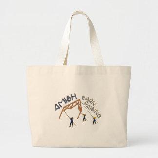 Amish Barn Raising Large Tote Bag