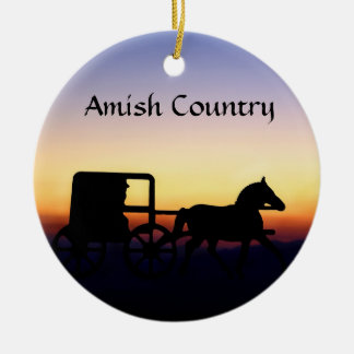 Amish Buggy Ride Ceramic Ornament