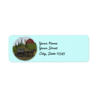 Amish Buggy Visiting custom name labels