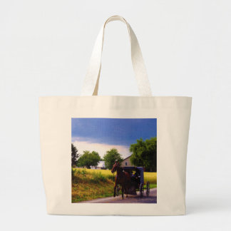 Amish Family Racing the Storm (simulated oil on ca Large Tote Bag