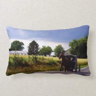 Amish Family Racing the Storm (simulated oil on ca Lumbar Pillow