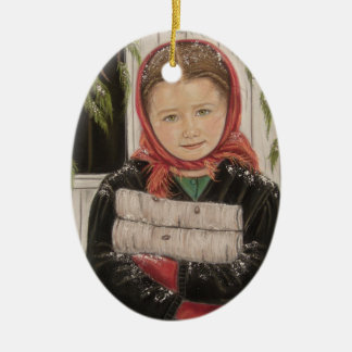 Amish Girl With Firewood Christmas Ornament