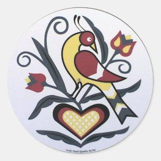 Amish Hex Lovebird Classic Round Sticker