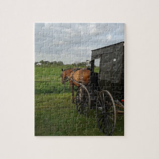 Amish Horse and Buggy at Sunset Jigsaw Puzzle