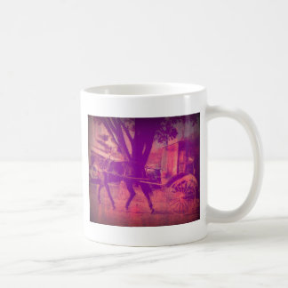 amish horse and buggy pink grunge look coffee mug