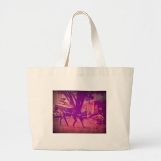 amish horse and buggy pink grunge look large tote bag