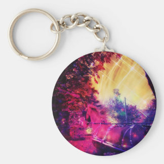 Amish Horse and Buggy Trippy Colorful Digital Art Basic Round Button Keychain