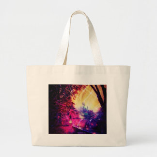 Amish Horse and Buggy Trippy Colorful Digital Art Large Tote Bag