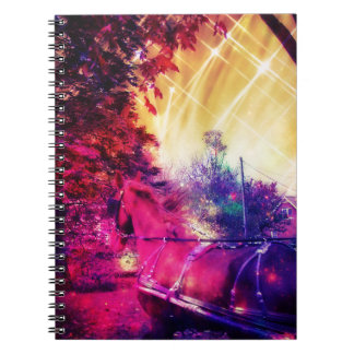 Amish Horse and Buggy Trippy Colorful Digital Art Note Books