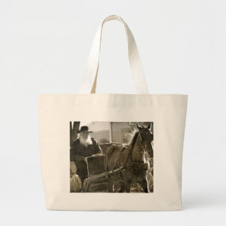 Amish Horse Being Silly With Tongue Stuck Out Large Tote Bag