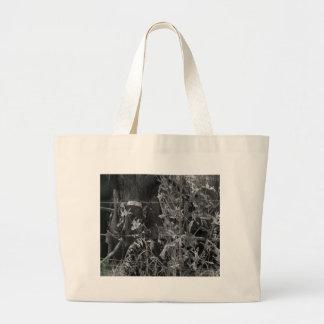 Amish Horse Black and White Grunge Large Tote Bag