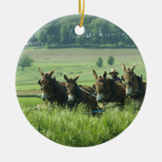 Amish Horse Drawn Plow Ceramic Ornament