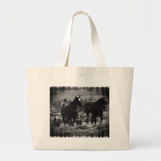 Amish Horses in Hay Field Working Large Tote Bag