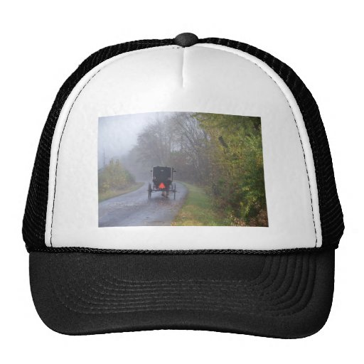 amish in a foggy forest trucker hats
