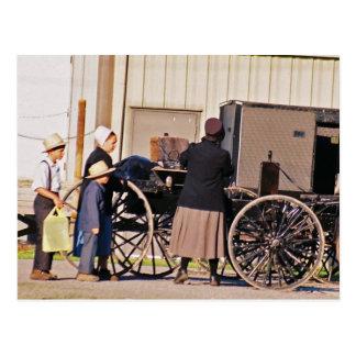 Amish Loading Buggy Postcard
