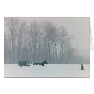 AMISH MAN  HORSE & BUGGY SNOW LANCASTER COUNTY PA CARD