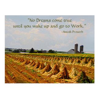 Amish Postcard. Proverb. Dreams. Work Postcard 2