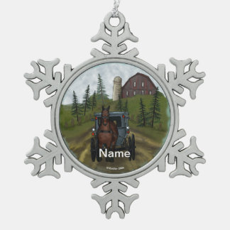 Amish Town Day Snowflake Pewter Christmas Ornament
