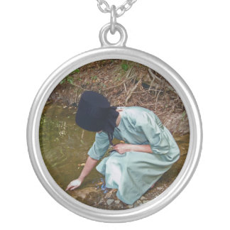 Amish Woman At Wishing Pond Silver Plated Necklace