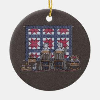 Amish Women Quilting Ceramic Ornament