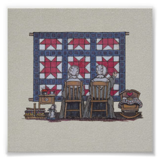 Amish Women Quilting Poster