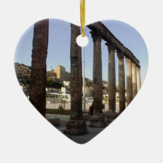 Amman Roman Theater Columns Ceramic Heart Ornament