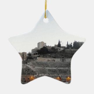 Amman Roman Theater in Winter Ceramic Star Ornament