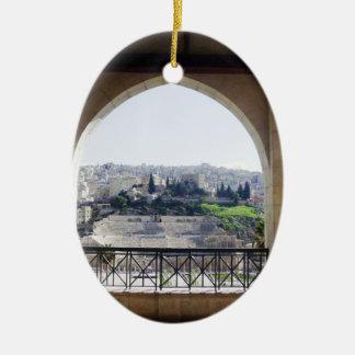 Amman Theater View Ceramic Oval Ornament