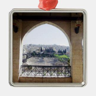 Amman Theater View Silver-Colored Square Ornament