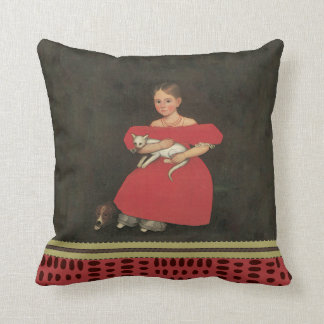 Ammi Phillips Girl in Red with her Cat and Dog1834 Throw Pillow