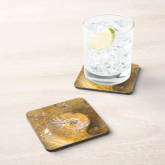 Ammonite and Other Fossils in Rock Photo Coaster