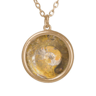 Ammonite Fossil and Other Fossils in Rock Gold Plated Necklace