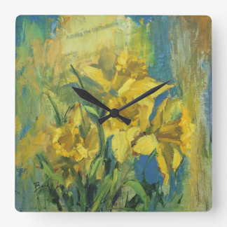 Among the Daffodils Square Wall Clock