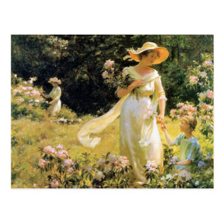 Among the Laurel Blossoms by Charles Curran Postcard