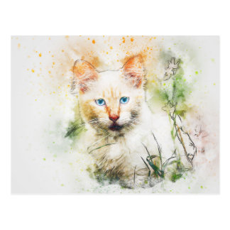 Among the Wildflowers | Abstract | Watercolor Postcard