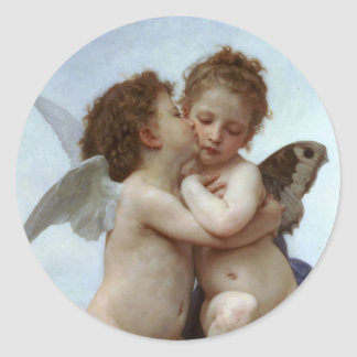 Amor and Psyche as Children /Angels First Kiss Round Sticker