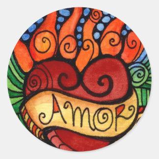 Amor Flaming Heart Round Sticker