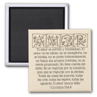 Amor...Love is...Scripture Magnet~Spanish~Gold Magnet