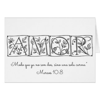 Amor~No Longer Two but One Flesh~Scripture~Spanish Card