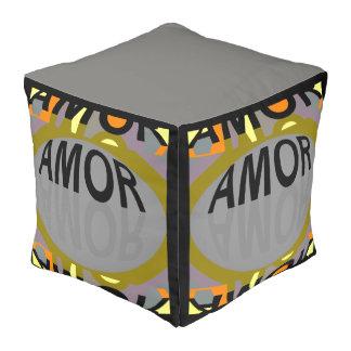 AMOR Pouf- Black/Gray/Orange/Yellow/Green Pouf