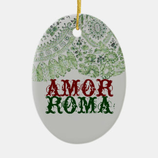 Amor Roma With Green Lace Ceramic Oval Ornament