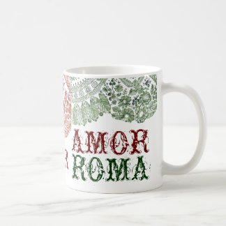 Amor Roma With Green Lace Coffee Mug