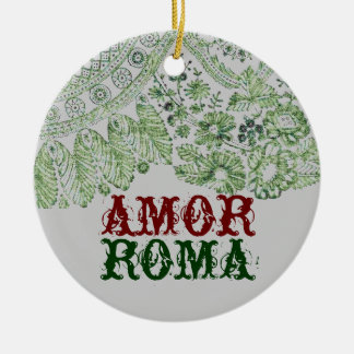 Amor Roma With Green Lace Round Ceramic Ornament