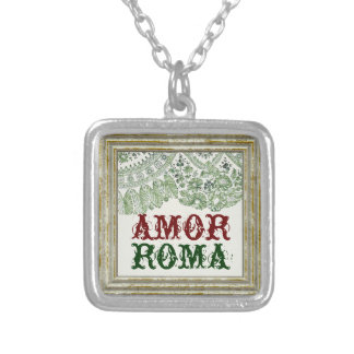 Amor Roma With Green Lace Silver Plated Necklace
